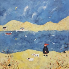 Walking The Dog. Acrylic on canvas, Naive painting