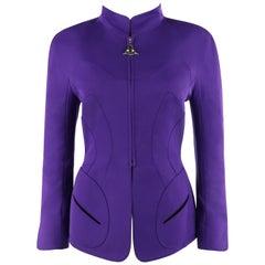 "THERRY MUGLER c.1980's Purple ""Evil Eye"" Structured Zip Up Peplum Blazer Jacket"