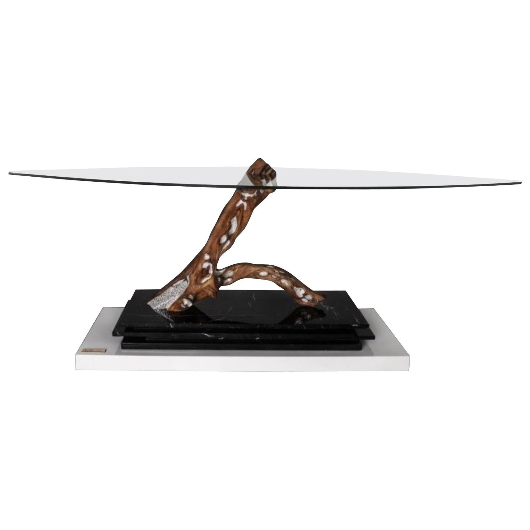 Thesaurus I Contemporary Design table with Swarovski Crystals, Marquina Marble