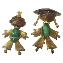 These Wonderful Vintage Pins, Feature the Design of an Asian Lady and Man
