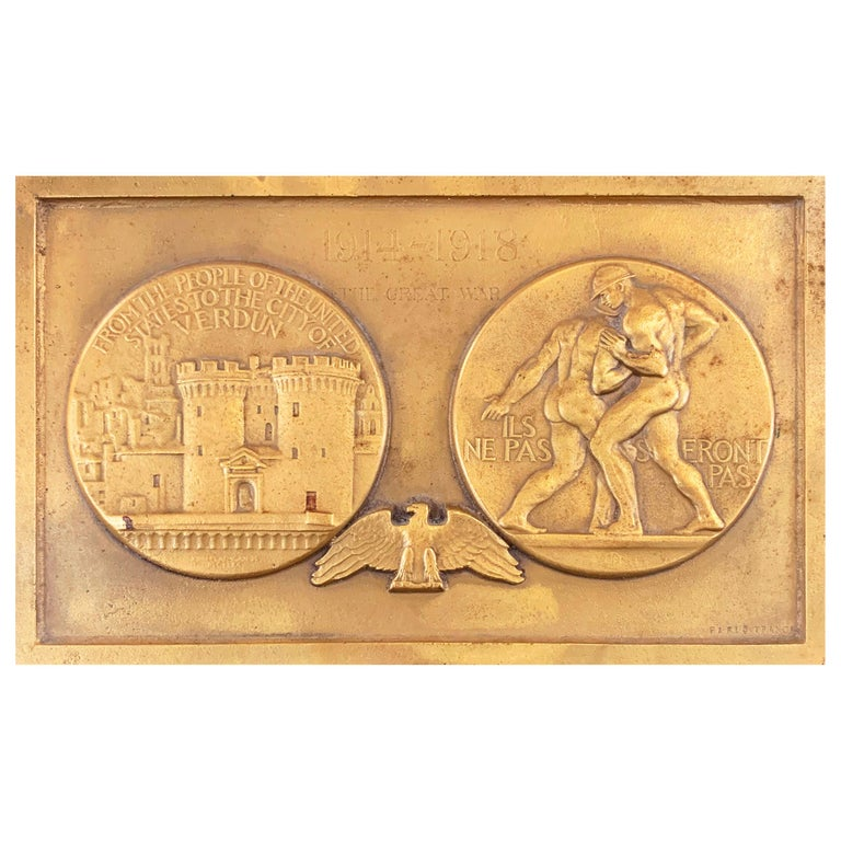 """""""They Shall Not Pass"""" Relief Sculpture Marking Battle of Verdun with Male Nudes For Sale"""