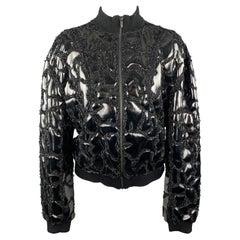 THEYSKENS THEORY Size S Black PVC Embellishment Beaded Bomber Jacket