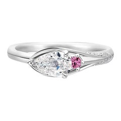 Thialh 0.5 Carat F Color Pear-Shaped Diamond with Pink Sapphire Engagement