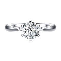 THIALH 1 Carat H Color Vvs1 Clarity Round Brilliant Engagement Ring
