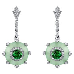 THIALH 18 Karat White Gold 1.0 Carat Round Cut Tsavorite and Diamond Earrings