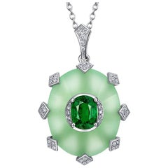 Thialh 18 Karat Gold Oval Cut 2.5 Carat Tsavorite and Diamond Necklace