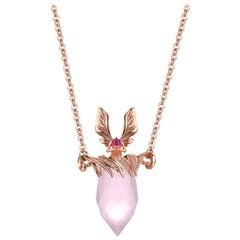 Thialh 18 Karat Rose Gold Diamond and Pink Quartz Necklace