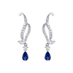 Thialh 18 Karat White Gold with Diamond and 0.77 Carat Sapphires Earrings