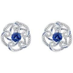 THIALH 18 Karat White Gold 2.2 Carat Blue Sapphire and Diamonds Regal Earrings