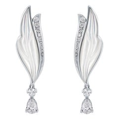THIALH 18 Karat White Gold Diamond and Mother of Pearl Earrings