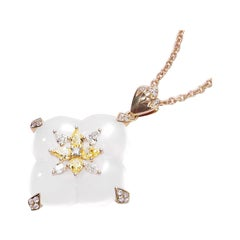 THIALH Pear-Cut Diamond and White Chalcedony 18 Karat Yellow Gold Necklace
