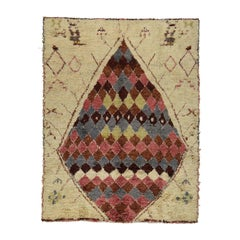 Thick and Plush Moroccan Shaggy Hand Knotted Pure Wool Rug