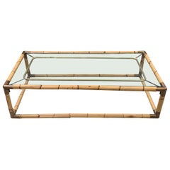 Thick Bamboo Framed Coffee Table, France, Midcentury