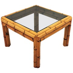 Thick Bamboo Square Table with Smoked Glass Top