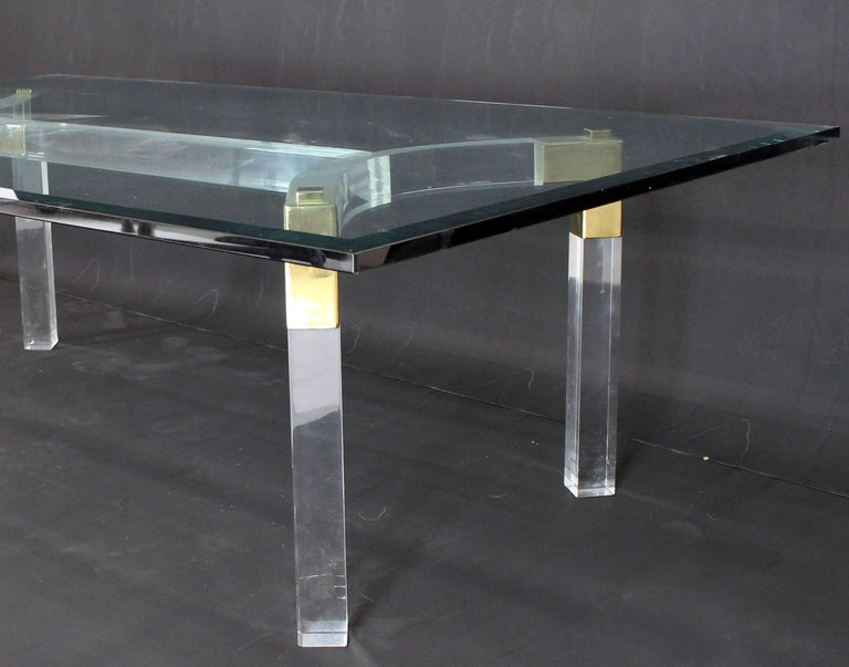 20th Century Thick Bent Lucite Brass Base Glass Top Large Rectangular Coffee Table For Sale