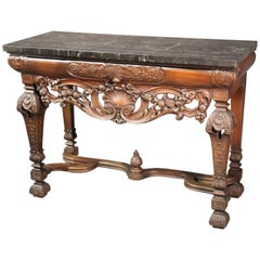 Thick Black Marble-Top English Walnut Georgian Console Table Buffet Server
