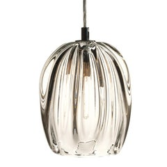 Thick Clear Pendant Light, Hand Blown Barnacle Barrel