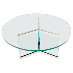 Thick Glass and Chrome Round Mid-Century Modern Coffee Table