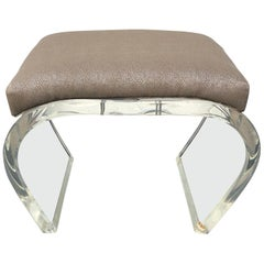 Large Thick Lucite Mid-Modern Waterfall Bench or Ottoman