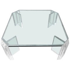 Thick Lucite Midcentury Coffee Table by Charles Hollis Jones