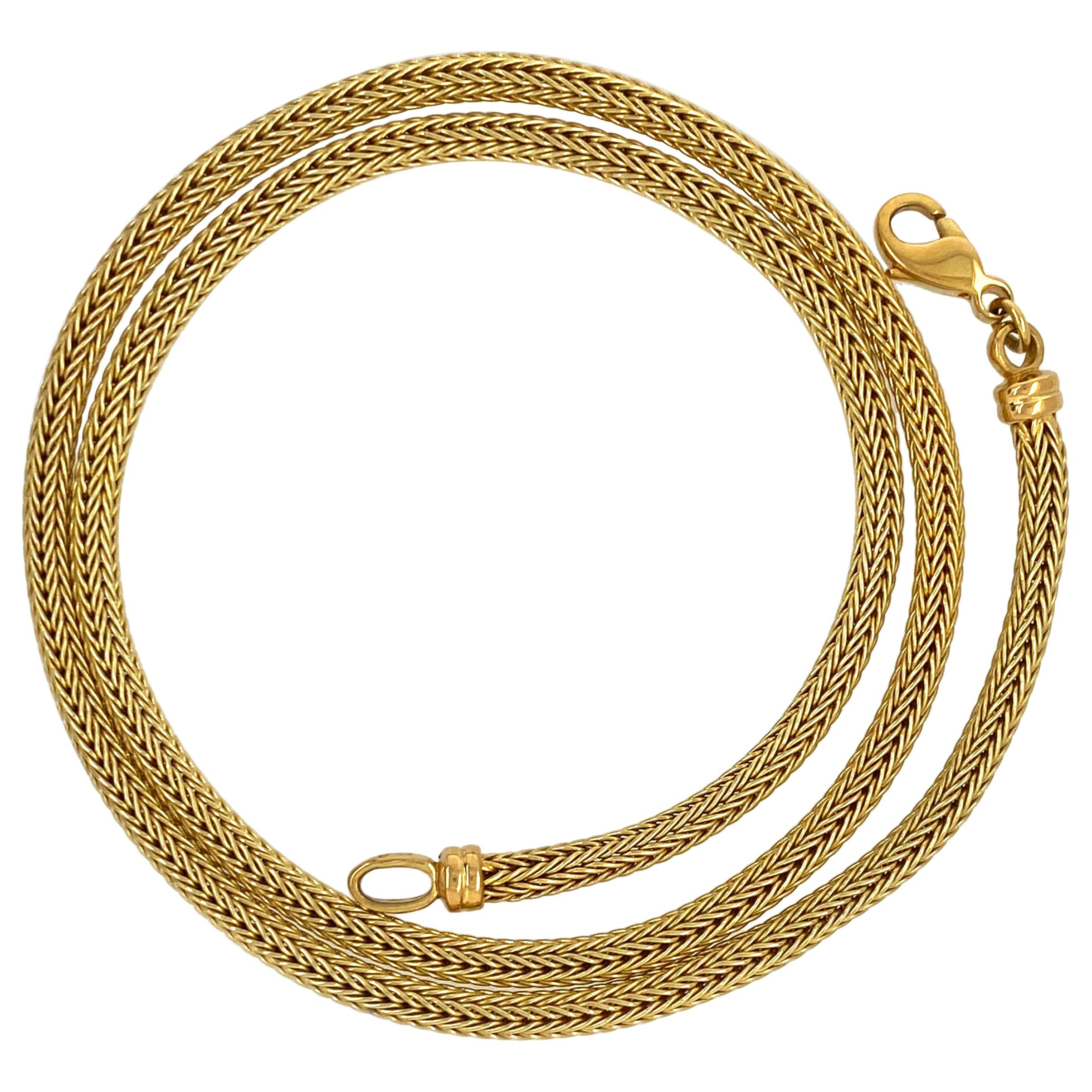 Thick Princess Length Round Woven Mesh Chain in Yellow Gold