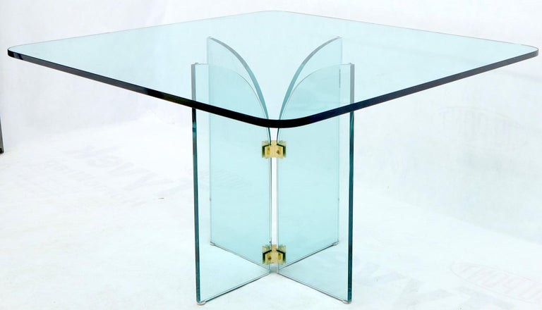 Mid-Century Modern Thick Rounded Square Glass Top Dining Table on Thick Glass Pedestal Base For Sale