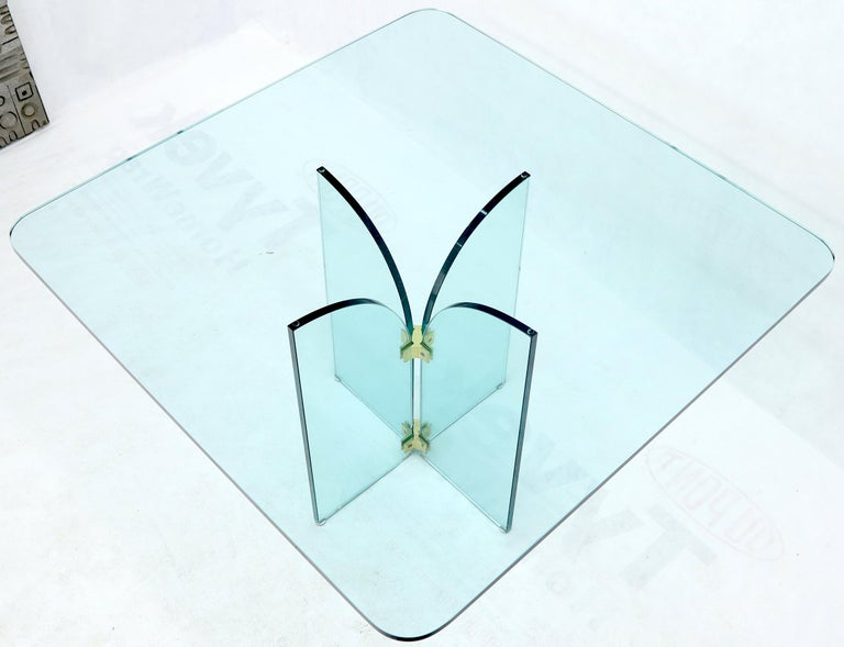 Italian Thick Rounded Square Glass Top Dining Table on Thick Glass Pedestal Base For Sale