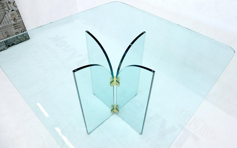 20th Century Thick Rounded Square Glass Top Dining Table on Thick Glass Pedestal Base For Sale