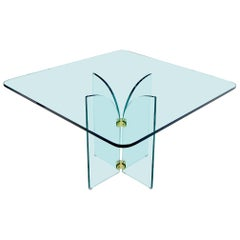 Thick Rounded Square Glass Top Dining Table on Thick Glass Pedestal Base