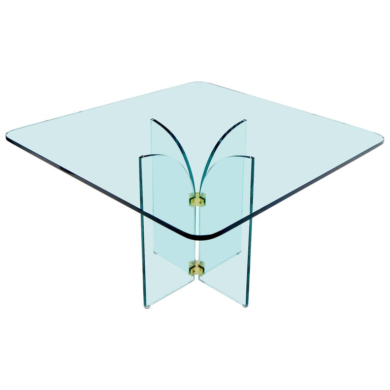 Thick Rounded Square Glass Top Dining Table on Thick Glass Pedestal Base For Sale