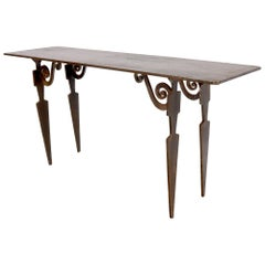 Thick Solid Steel Plate Top Cut Steel Legs Coffee Table Steam Punk Console Table