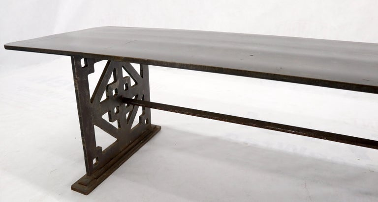 Thick Solid Steel Plate Top Pierced Base Coffee Table Steam Punk Coffee Table For Sale 3