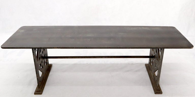 Thick Solid Steel Plate Top Pierced Base Coffee Table Steam Punk Coffee Table For Sale 4