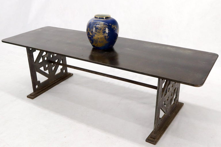 Thick Solid Steel Plate Top Pierced Base Coffee Table Steam Punk Coffee Table For Sale 5