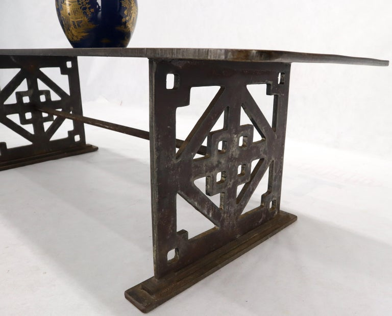 Thick Solid Steel Plate Top Pierced Base Coffee Table Steam Punk Coffee Table For Sale 6