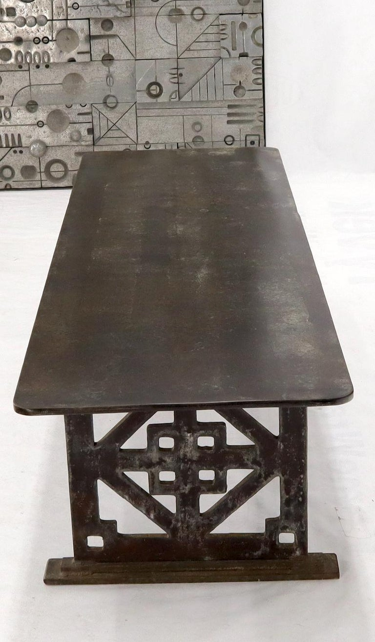 Thick Solid Steel Plate Top Pierced Base Coffee Table Steam Punk Coffee Table For Sale 8
