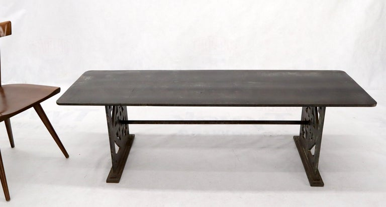 Mid-Century Modern Thick Solid Steel Plate Top Pierced Base Coffee Table Steam Punk Coffee Table For Sale
