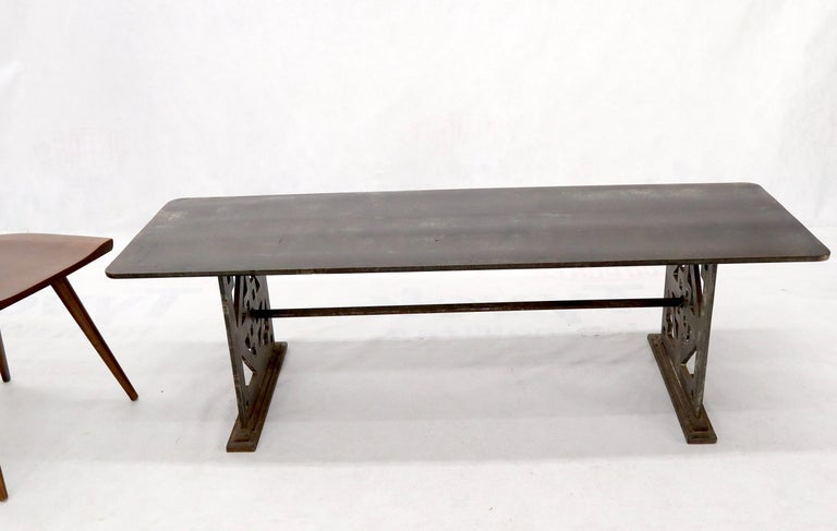 Forged Thick Solid Steel Plate Top Pierced Base Coffee Table Steam Punk Coffee Table For Sale