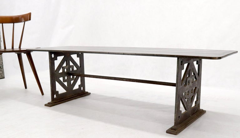 20th Century Thick Solid Steel Plate Top Pierced Base Coffee Table Steam Punk Coffee Table For Sale