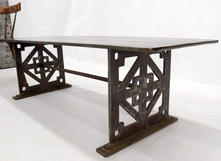 Thick Solid Steel Plate Top Pierced Base Coffee Table Steam Punk Coffee Table For Sale 1