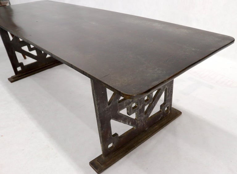 Thick Solid Steel Plate Top Pierced Base Coffee Table Steam Punk Coffee Table For Sale 2