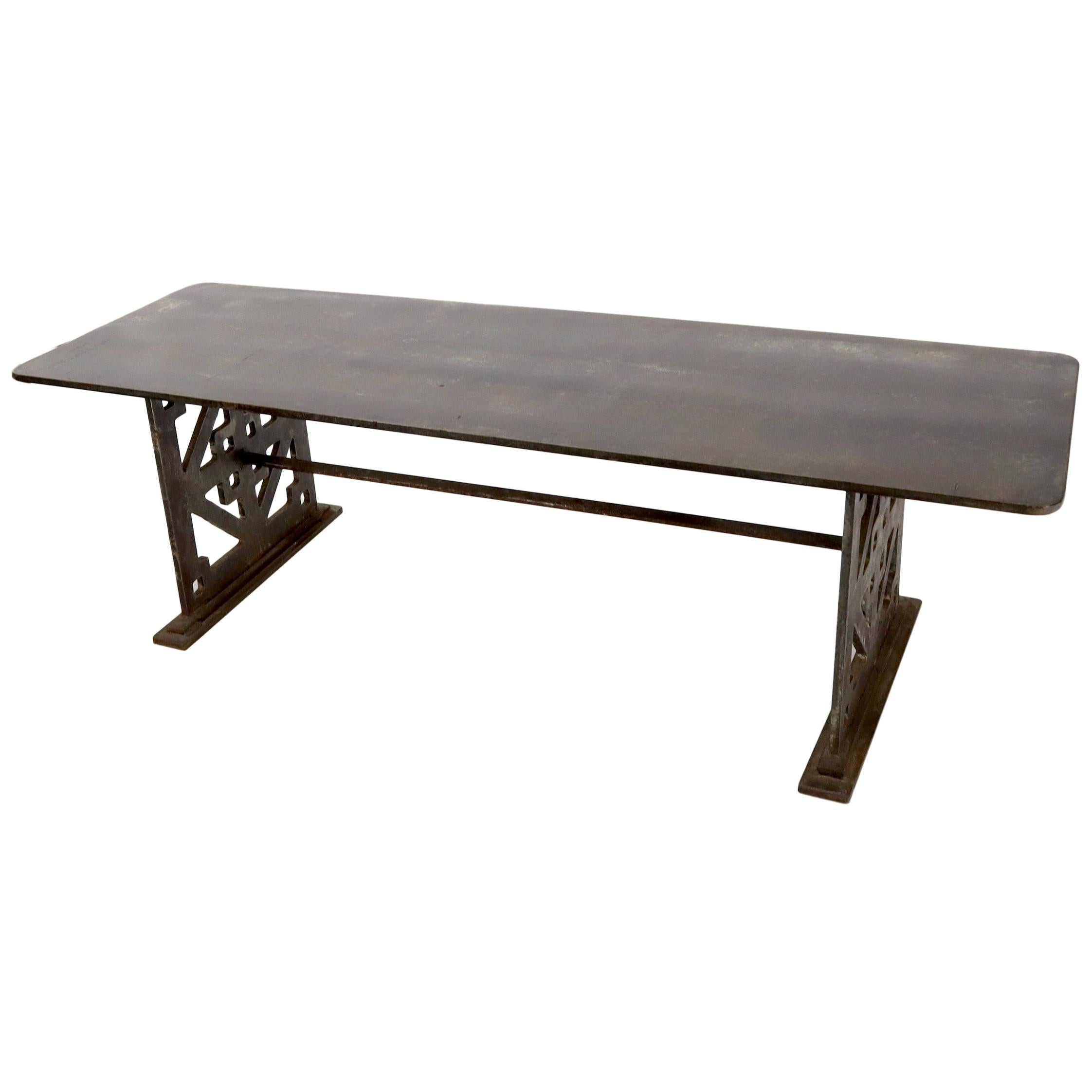 Thick Solid Steel Plate Top Pierced Base Coffee Table Steam Punk Coffee Table