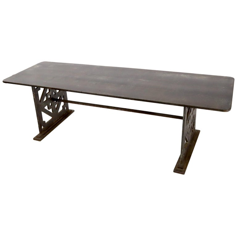 Thick Solid Steel Plate Top Pierced Base Coffee Table Steam Punk Coffee Table For Sale