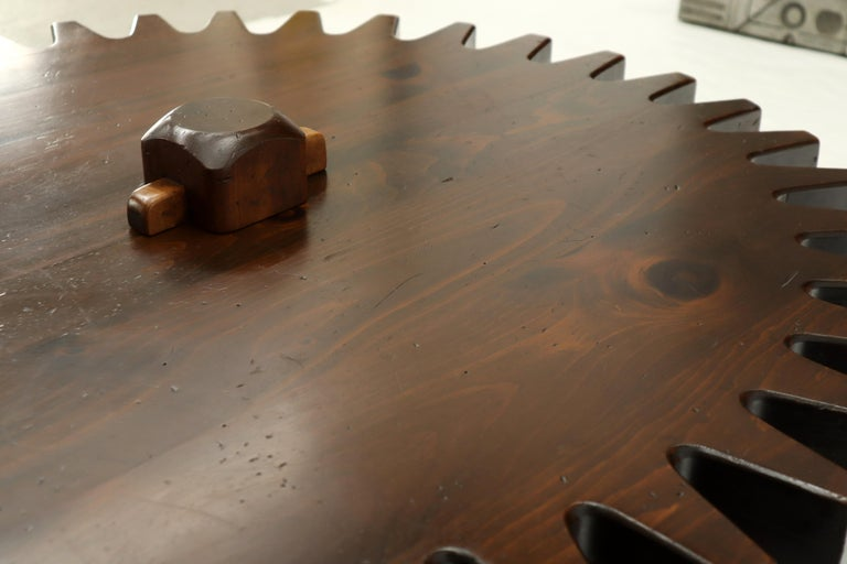 Thick Wooden Huge Round Gear Shape Top Coffee Table For