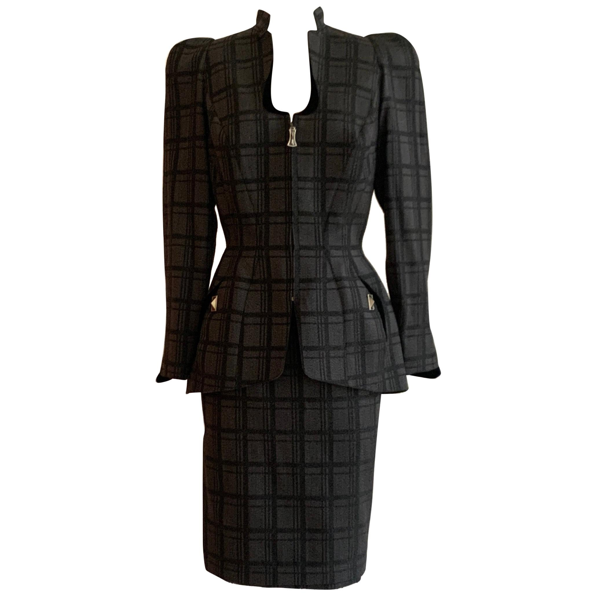 Thierry Mugler 1980s Unworn Grey and Black Plaid Structured Skirt Suit