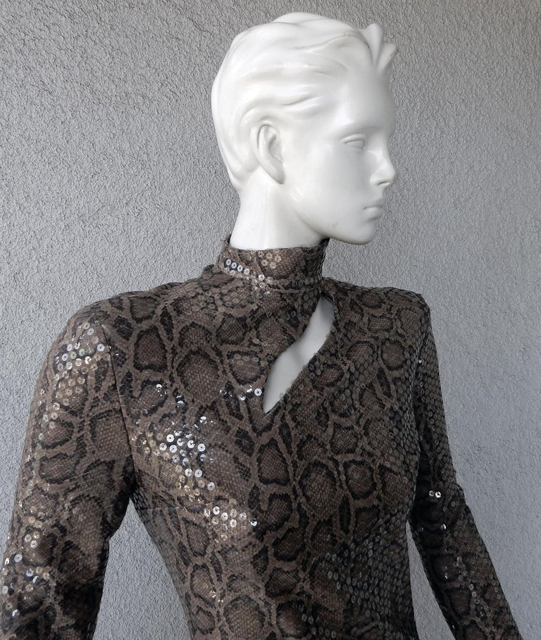 Black Thierry Mugler 1983 Python Beaded Body Hugging Dress  WOW For Sale
