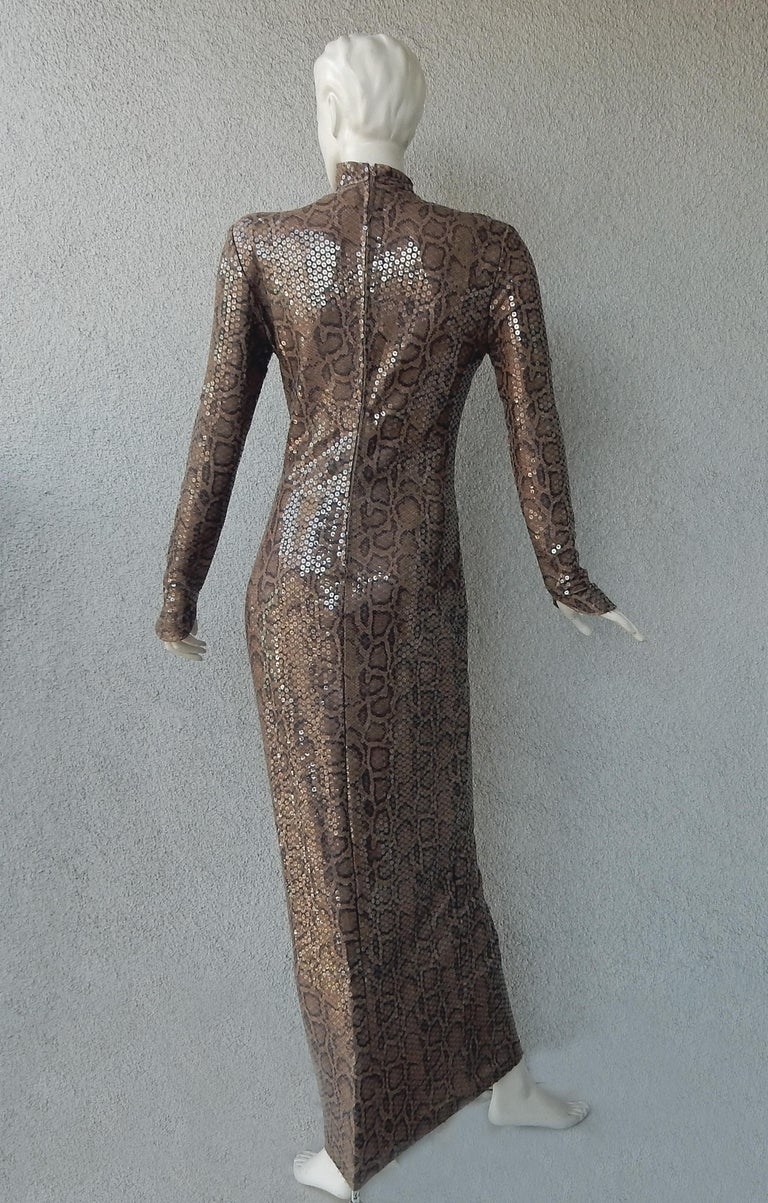 Thierry Mugler 1983 Python Beaded Body Hugging Dress  WOW For Sale 1