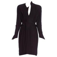 1990'S THIERRY MUGLER Black Silk Long Sleeve Dress