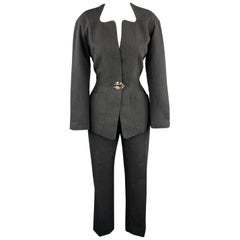 THIERRY MUGLER 8 Grey Striped Wool Silver Brooch Button Pants Suit