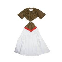 Thierry Mugler Khaki Lambskin Leather Backless Dress